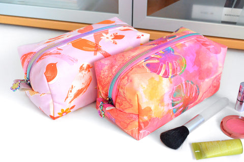 Rainbow Monstera & Social Bird Boxy Toiletry Bag