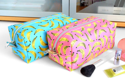 Pink & Blue Bananas Boxy Toiletry Bag