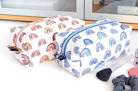 Red & Blue Rainbows Boxy Toiletry Bag