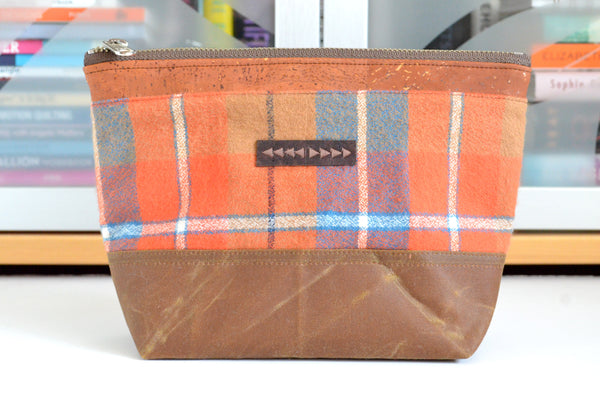 Orange Waxed Canvas Pouch