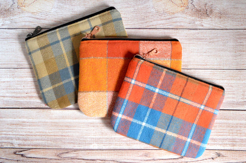 Rustic Plaid Flannel Small Zipper Pouch