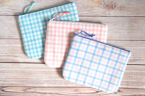 Pastel Plaid Flannel Small Zipper Pouch