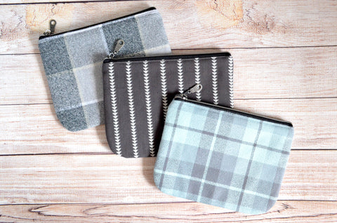 Dark Grey Plaid Flannel Small Zipper Pouch