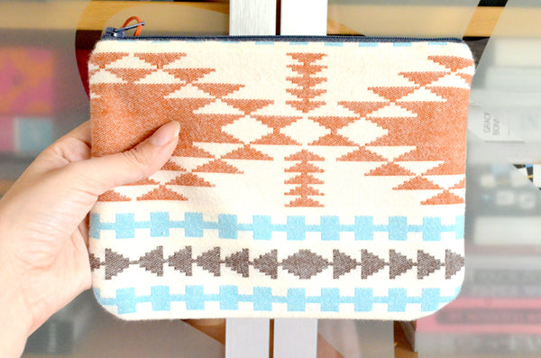 Ivory Taos Plaid Flannel Small Zipper Pouch