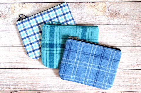 Blue Plaid Flannel Small Zipper Pouch