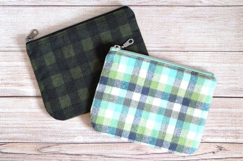 Green Plaid Flannel Small Zipper Pouch
