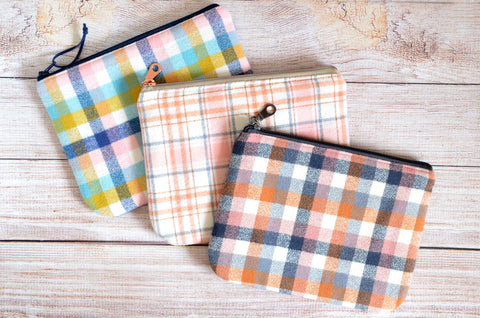 Nutmeg Plaid Flannel Small Zipper Pouch