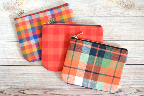 Orange & Red Plaid Flannel Small Zipper Pouch