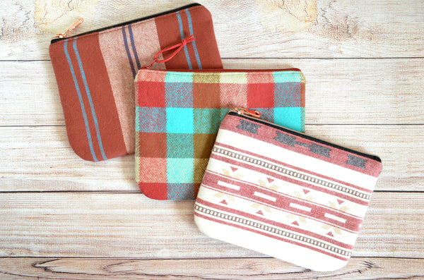Rust Plaid Flannel Small Zipper Pouch
