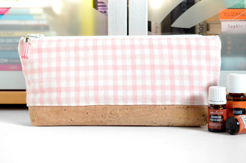 Pink Plaid Flannel Essential Oil Bag