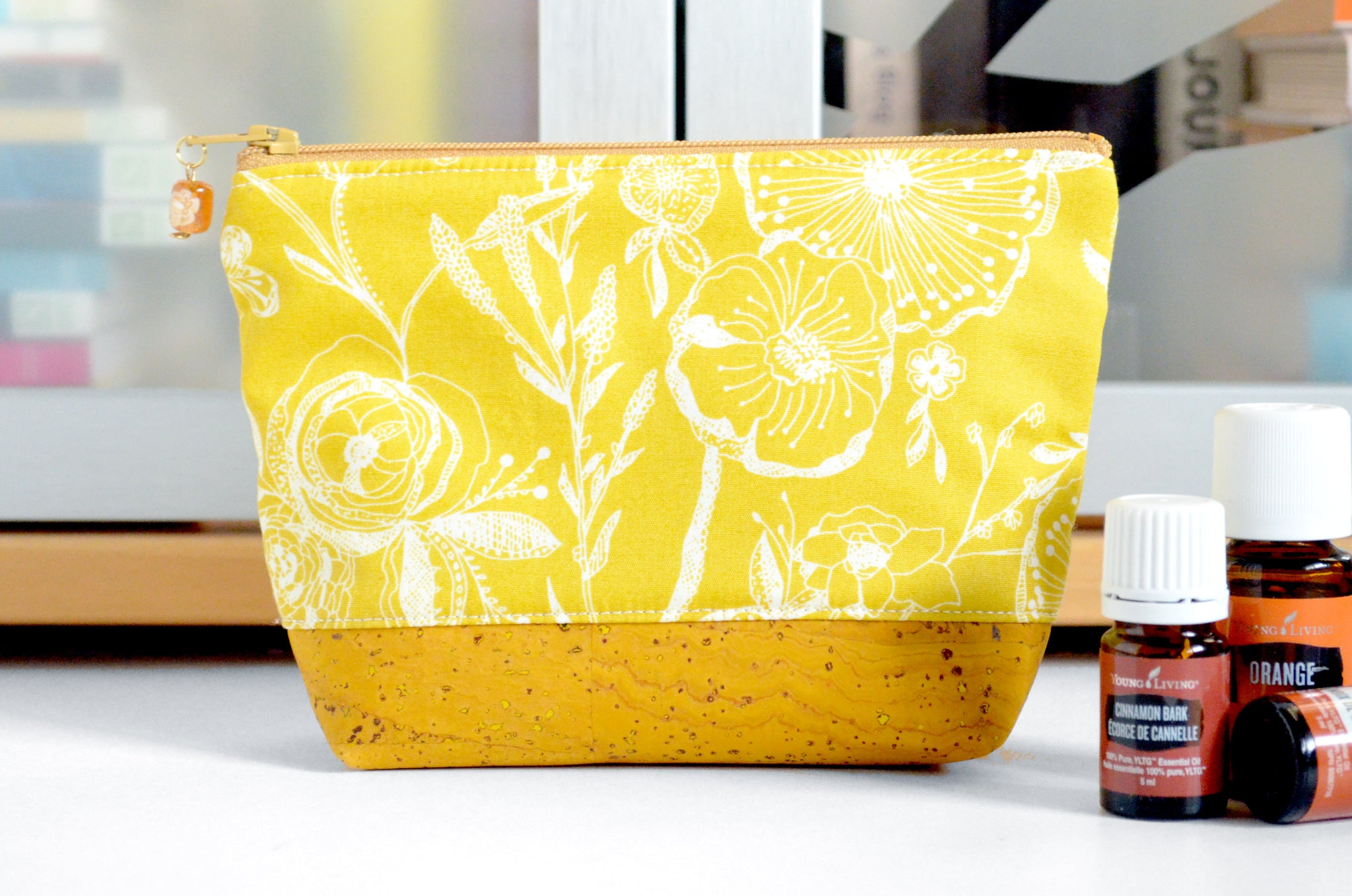 Yellow Floral Mini Essential Oil Bag