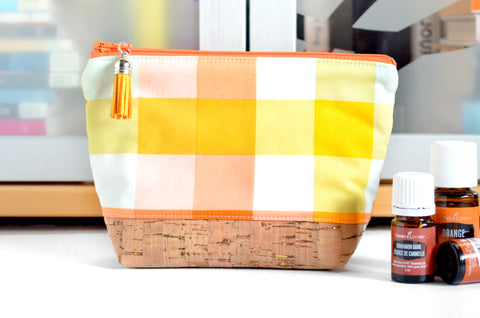 Yellow & Orange Plaid Essential Oil Bag