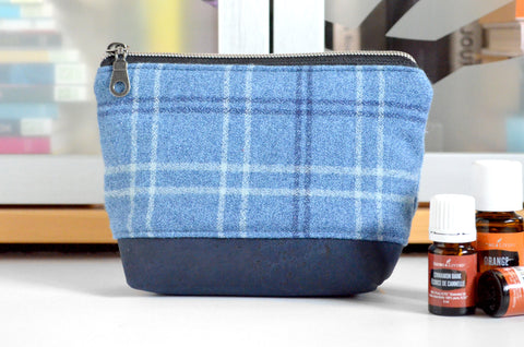 Blue Plaid Flannel Essential Oil Bag