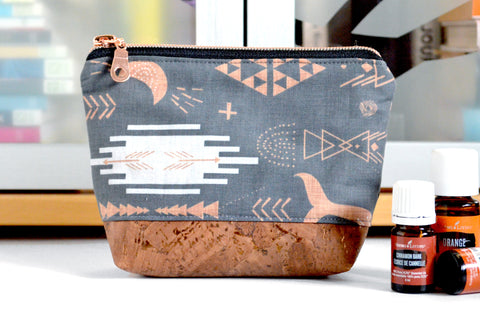 Grey Boho Mini Essential Oil Bag