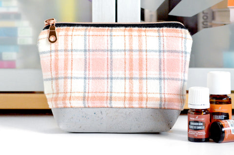 Rose Gold Plaid Flannel Essential Oil Bag