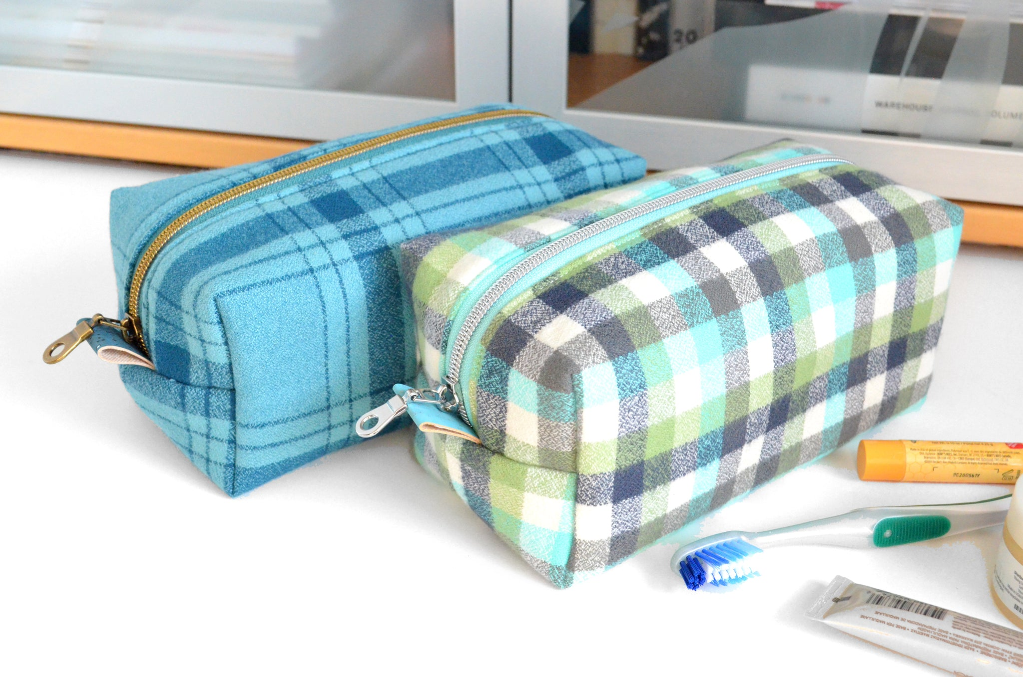Green & Blue Plaid Flannel Boxy Toiletry Bag