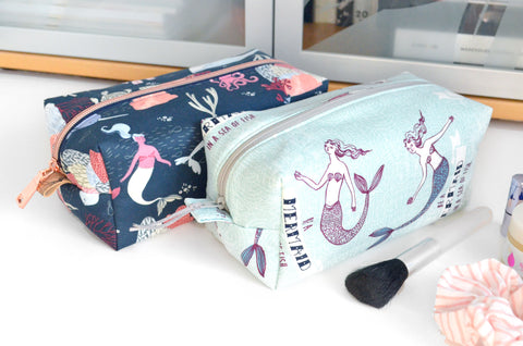 Blue Mermaids Boxy Toiletry Bags