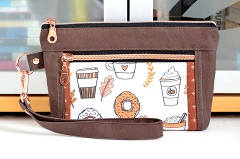Brown Pumpkin Spice Double-Zip Wristlet