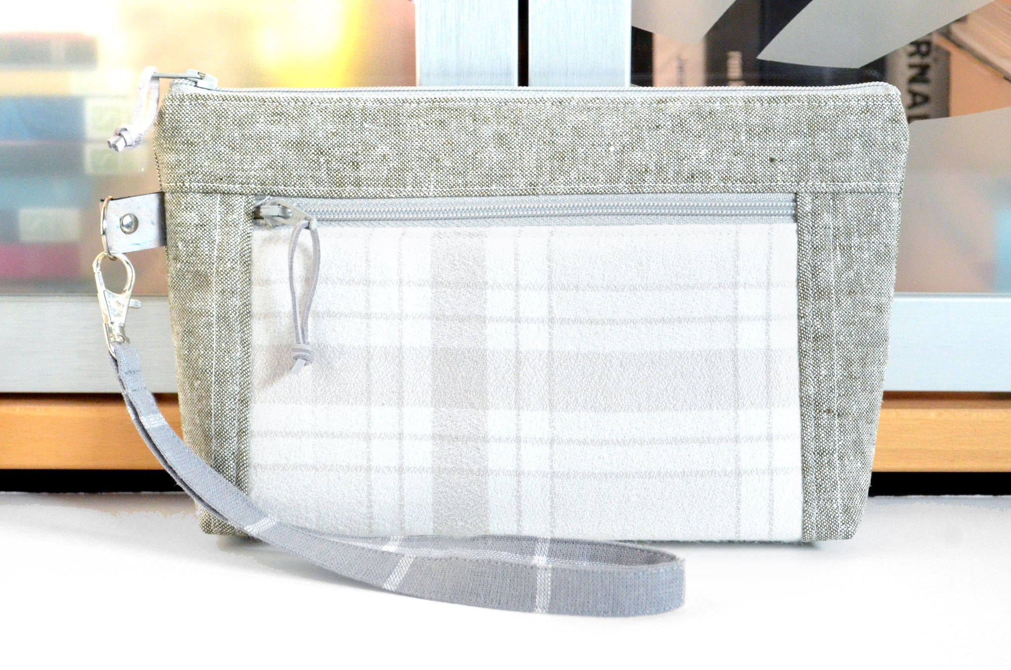 Bone Plaid Flannel Double-Zip Wristlet
