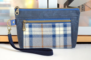 Waxed Canvas Navy & Gold Plaid Double-Zip Wristlet