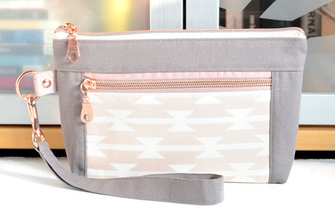 Rose Gold Boho Double-Zip Wristlet