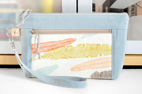 Blue-Grey Feathers Double-Zip Wristlet