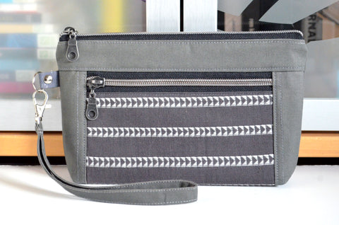 Woven Migration Double-Zip Wristlet