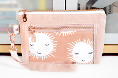 Rose Gold Sunshine Double-Zip Wristlet
