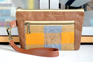 Waxed Canvas Golden Plaid Double-Zip Wristlet