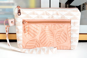 Rose Gold Leaves Double-Zip Wristlet