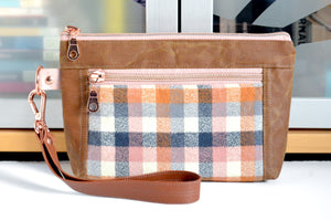Waxed Canvas Nutmeg Plaid Double-Zip Wristlet
