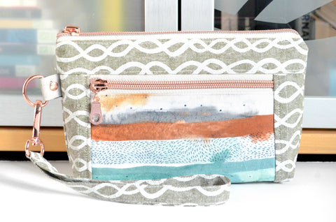 Autumn Watercolour Double-Zip Wristlet