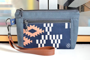 Navy & Grey Boho Double-Zip Wristlet