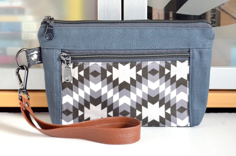 Grey & Black Boho Double-Zip Wristlet