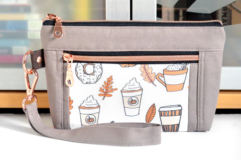Rose Gold Pumpkin Spice Double-Zip Wristlet