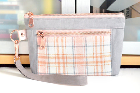 Rose Gold Plaid Flannel Double-Zip Wristlet