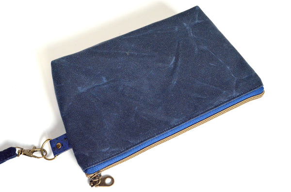 Waxed Canvas Navy Plaid Double-Zip Wristlet