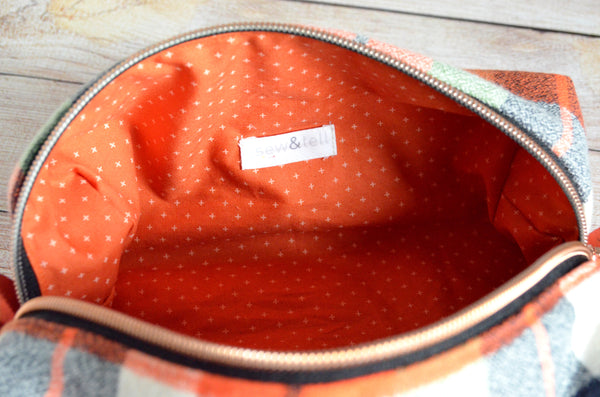 Orange & Green Plaid Flannel Boxy Toiletry Bag