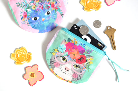 Floral Crown Cats Round Coin Purse