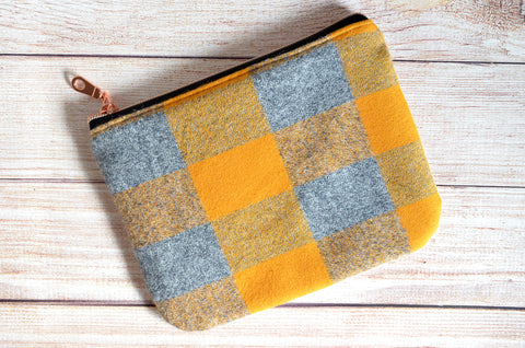 Gold Plaid Flannel Small Zipper Pouch