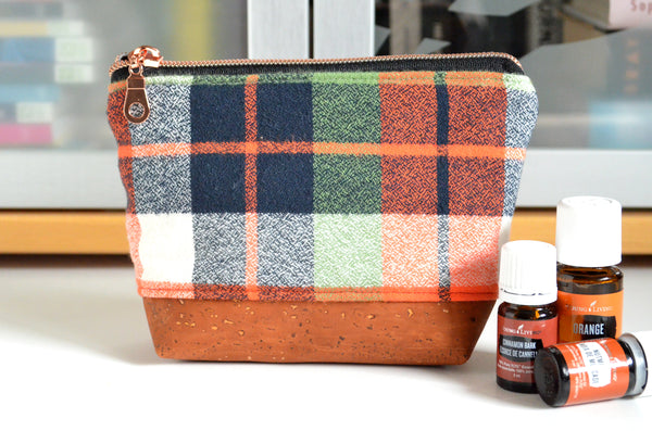 Black & Orange Plaid Flannel Essential Oil Bag