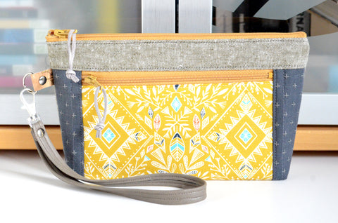 Yellow Boho Diamond Double-Zip Wristlet