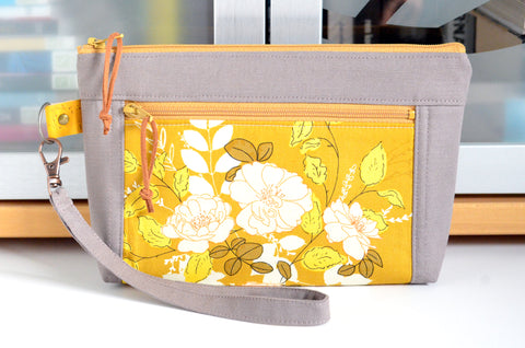 Golden Floral Double-Zip Wristlet
