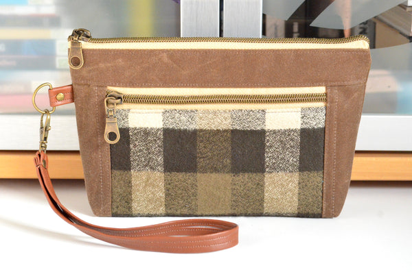 Waxed Canvas Olive Plaid Double-Zip Wristlet