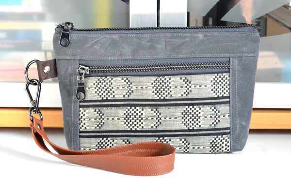 Waxed Canvas Grey Woven Check Double-Zip Wristlet