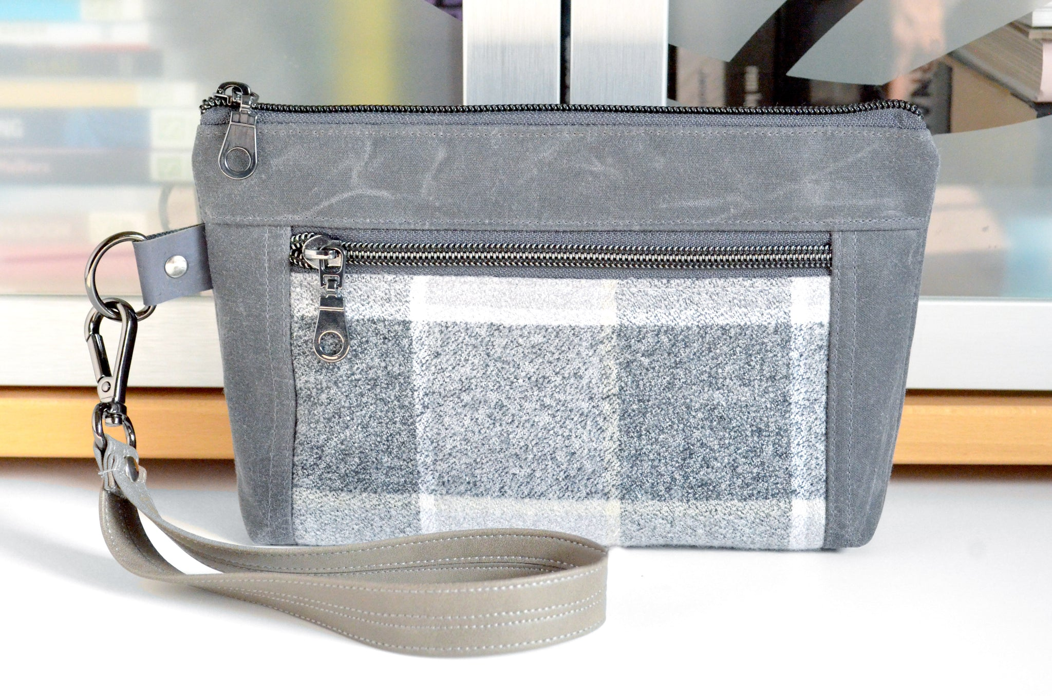 Waxed Canvas Light Grey Plaid Double-Zip Wristlet