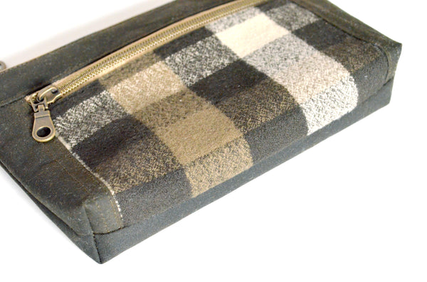 Waxed Cotton Olive Plaid Double-Zip Wristlet