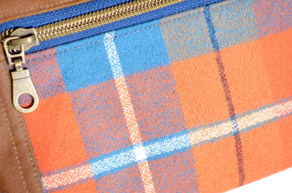 Waxed Canvas Orange & Blue Plaid Double-Zip Wristlet