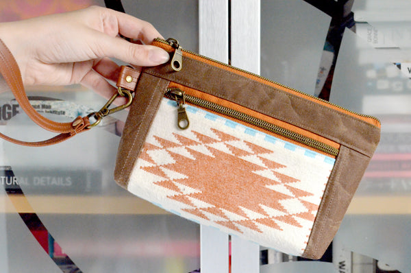 Waxed Canvas Ivory Taos Flannel Double-Zip Wristlet