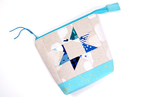 Metallic Blue Patchwork Star Pouch